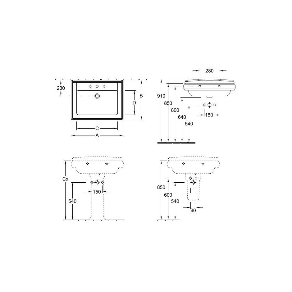 Villeroy & Boch Hommage umywalka 750 x 580 mm, Weiss Alpin Ceramicplus - 8690_T1