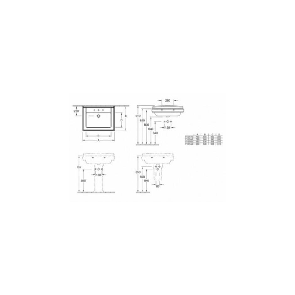 Villeroy & Boch Hommage umywalka 650 x 530 mm, Weiss Alpin Ceramicplus - 8700_T1