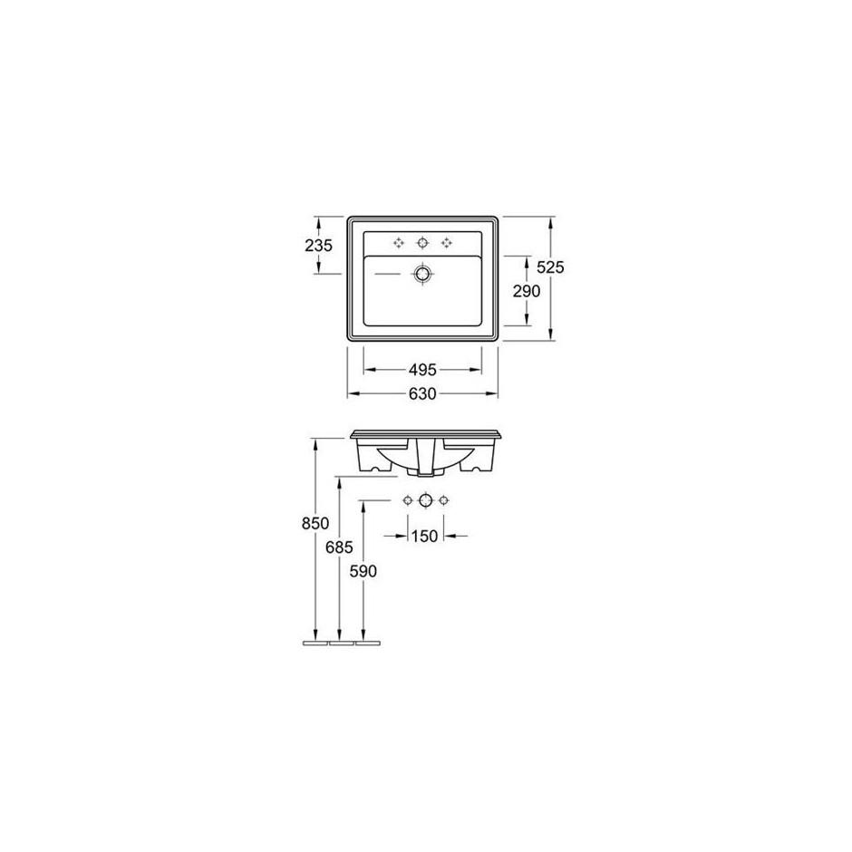Villeroy & Boch Hommage umywalka nablatowa, 630 x 525 mm, Star White Ceramicplus - 8726_T1