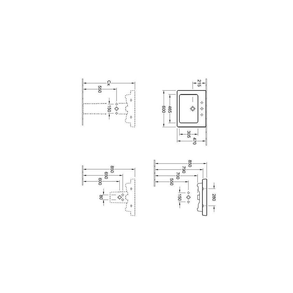 Villeroy & Boch Subway 2.0 umywalka 600 x 470 mm, Star White Ceramicplus - 420043_T1