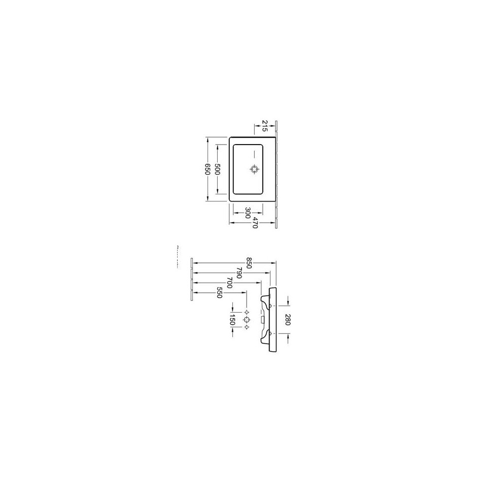 Villeroy & Boch Subway 2.0 umywalka 650 x 470 mm, do montazu z meblami Subway 2.0 Star White Ceramicplus - 420110_T1