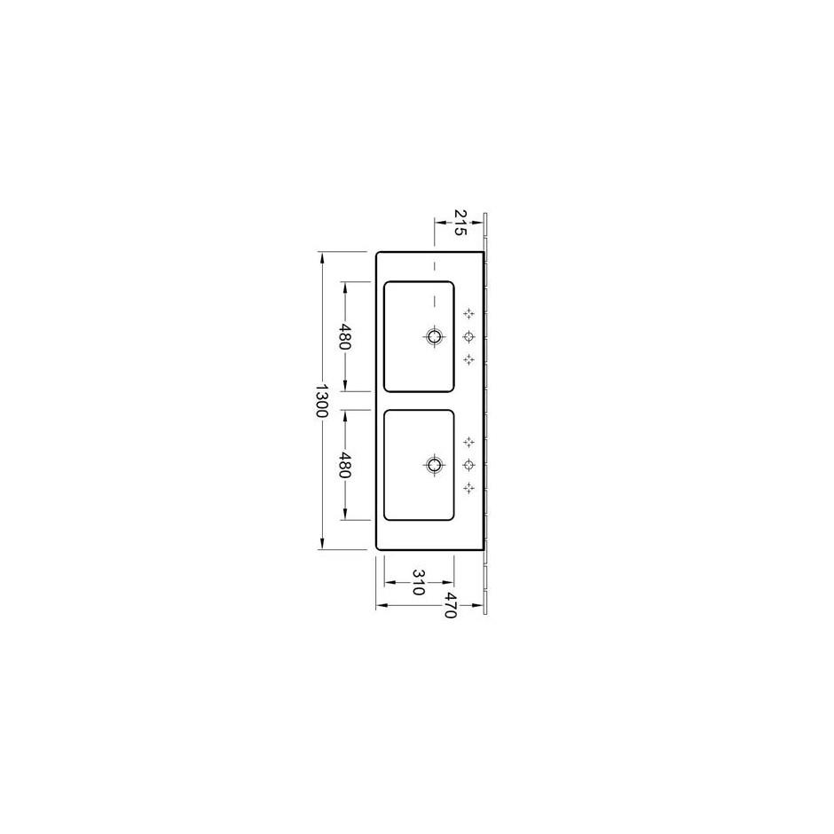 Villeroy & Boch Subway 2.0 umywalka meblowa podwójna, 1300 x 470 mm, Star White Ceramicplus - 420214_T1