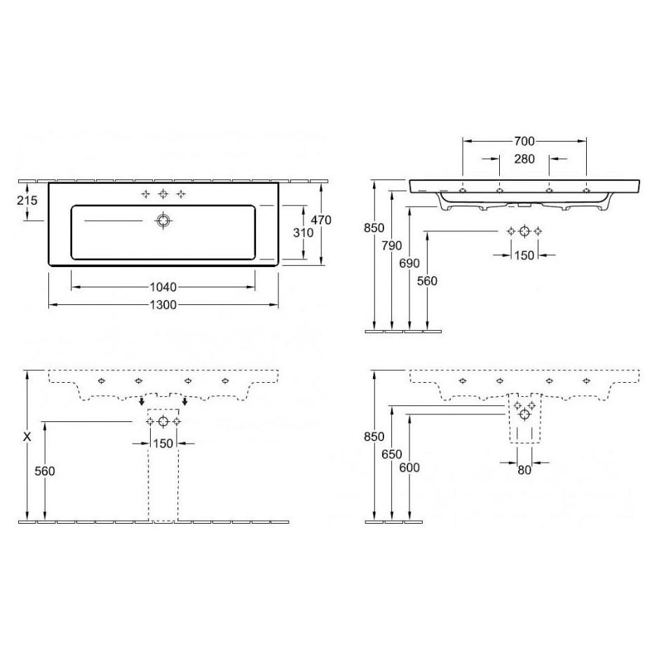 Villeroy & Boch Subway 2.0 umywalka meblowa, 1300 x 470 mm, Star White Ceramicplus - 420234_T1