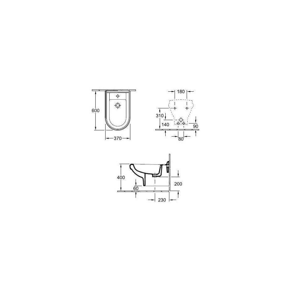 Villeroy & Boch Hommage Bidet wiszący do armatury 1 - otworowej 60x37 Biały Ceramicplus - 8740_T1