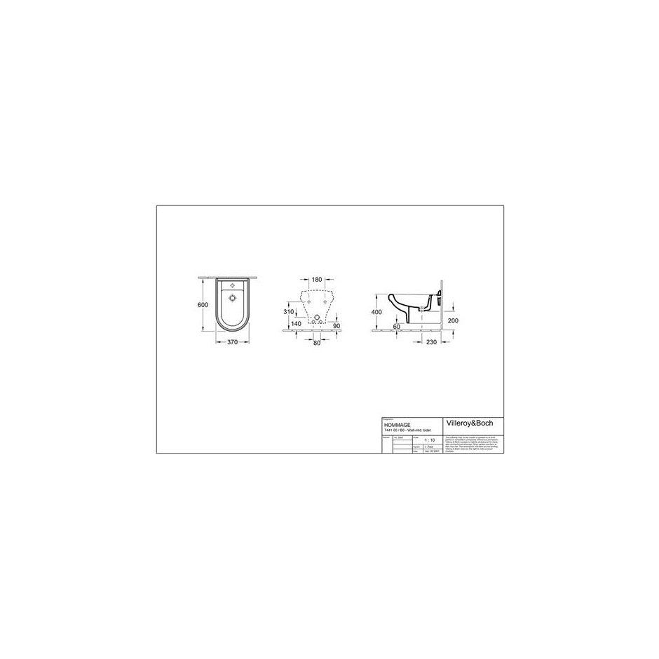 Villeroy & Boch Hommage bidet, 370 x 600 mm, model wiszacy, Star White Ceramicplus - 8741_T1