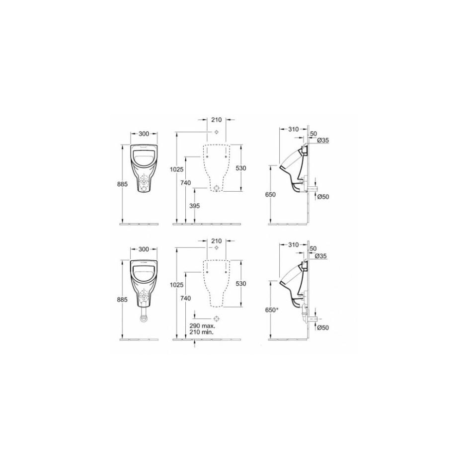 Villeroy & Boch O.Novo pisuar, 300 x 530 x 310 mm, bez pokrywy, Weiss Alpin Ceramicplus - 11169_T1