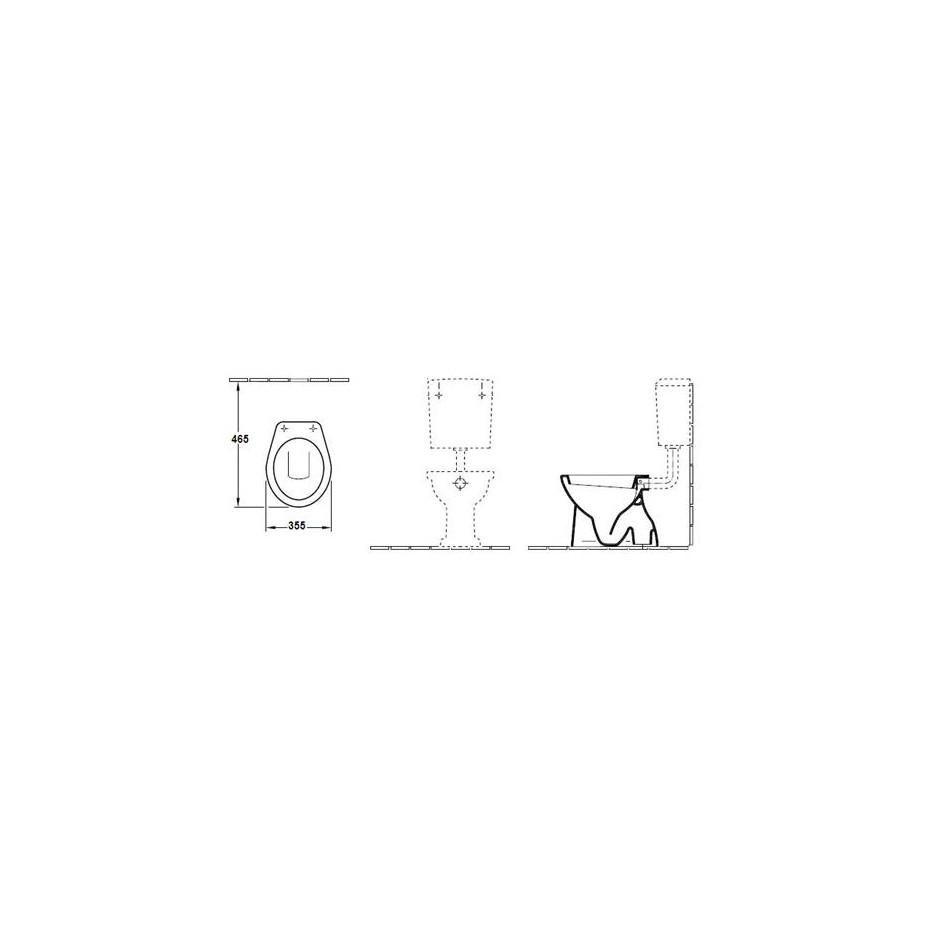 Villeroy & Boch O.Novo miska WC stojąca z pólka, 355 x 465 mm, odplyw poziomy, Weiss Alpin - 11050_T1