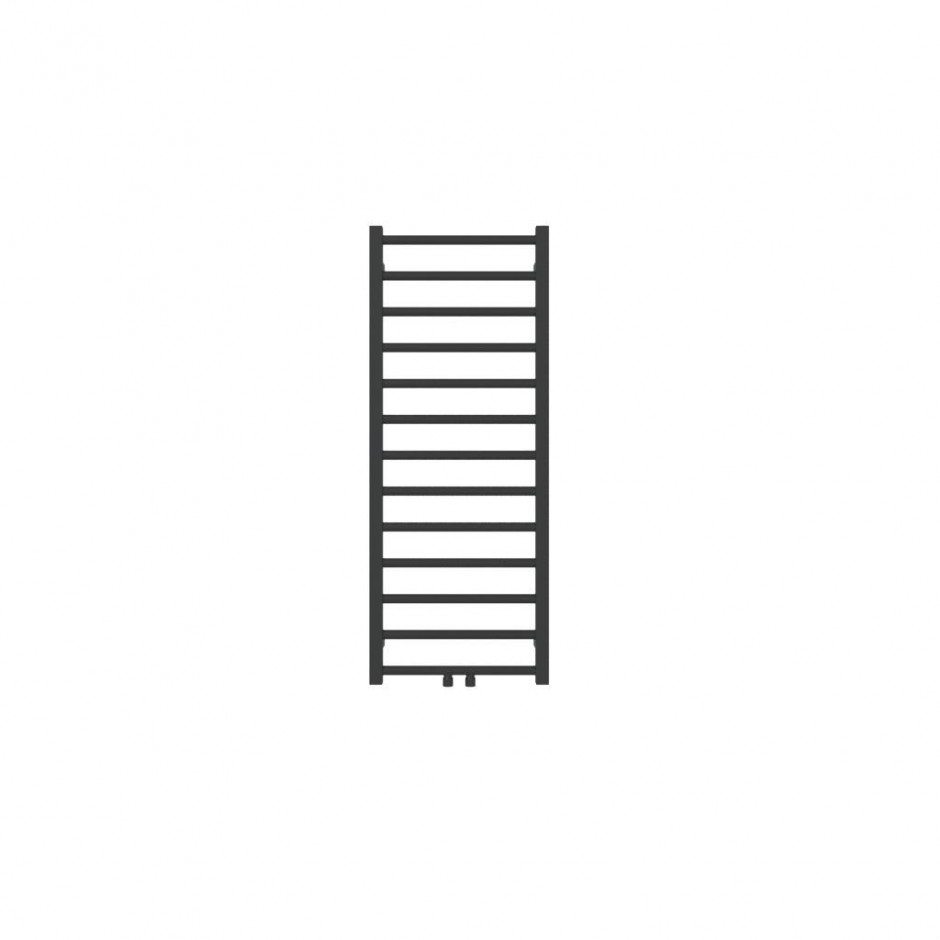 """Hushlab Stratto Metallic Black 500x1020- Grzejnik drabinkowy Stratto 1020/500mm kolor Metallic Black podł. 4x1/2"""" od dołu"""