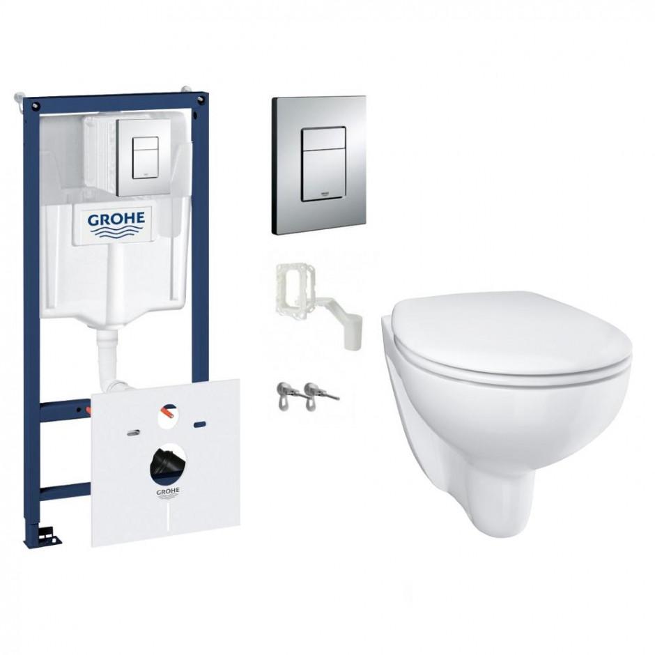 Grohe Bau Ceramic Zestaw Stelaż podtynkowy z miską WC wiszącą bezrantową i deską wolnoopadającą (38827000 + 39427000 + 39493000)