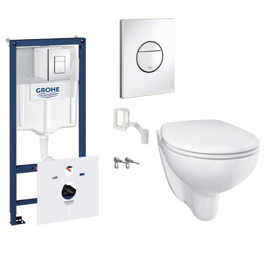Grohe Bau Ceramic Zestaw Stelaż podtynkowy z miską WC wiszącą bezrantową i deską wolnoopadającą (39451000 + 39427000 + 39493000)