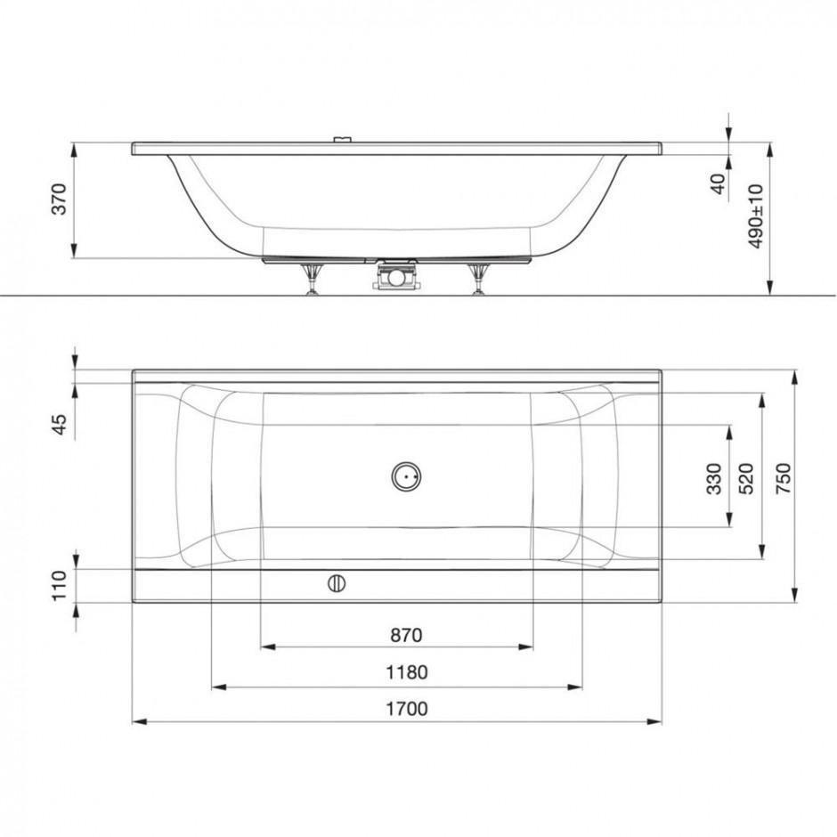 Ideal Standard Connect wanna prostoktna 170x75cm + zestaw Ideal Waste biała - 366771_T1