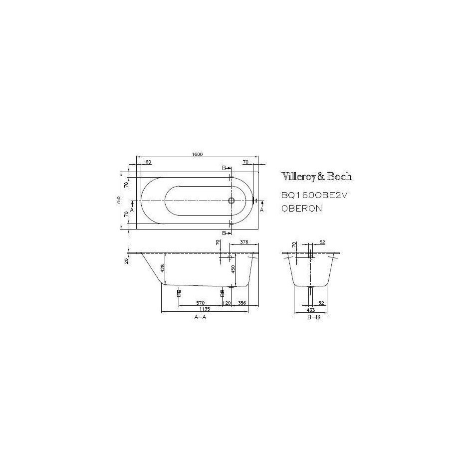 Villeroy & Boch Oberon Wanna prostokątna 1600 x 750 mm weiss alpin - 353926_T1