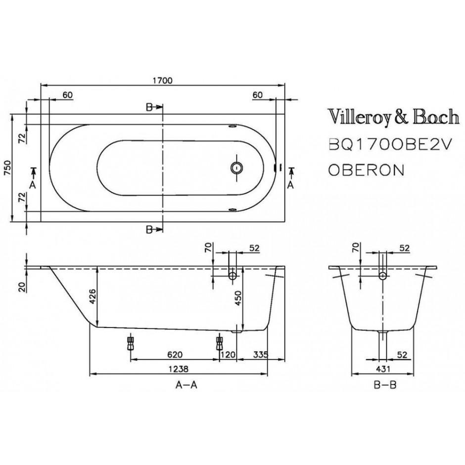 Villeroy & Boch Oberon Wanna prostokątna 1700 x 750 mm star white - 353949_T1