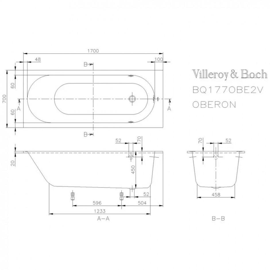 Villeroy & Boch Oberon Wanna prostokątna 1700 x 700 mm weiss alpin - 353974_T1