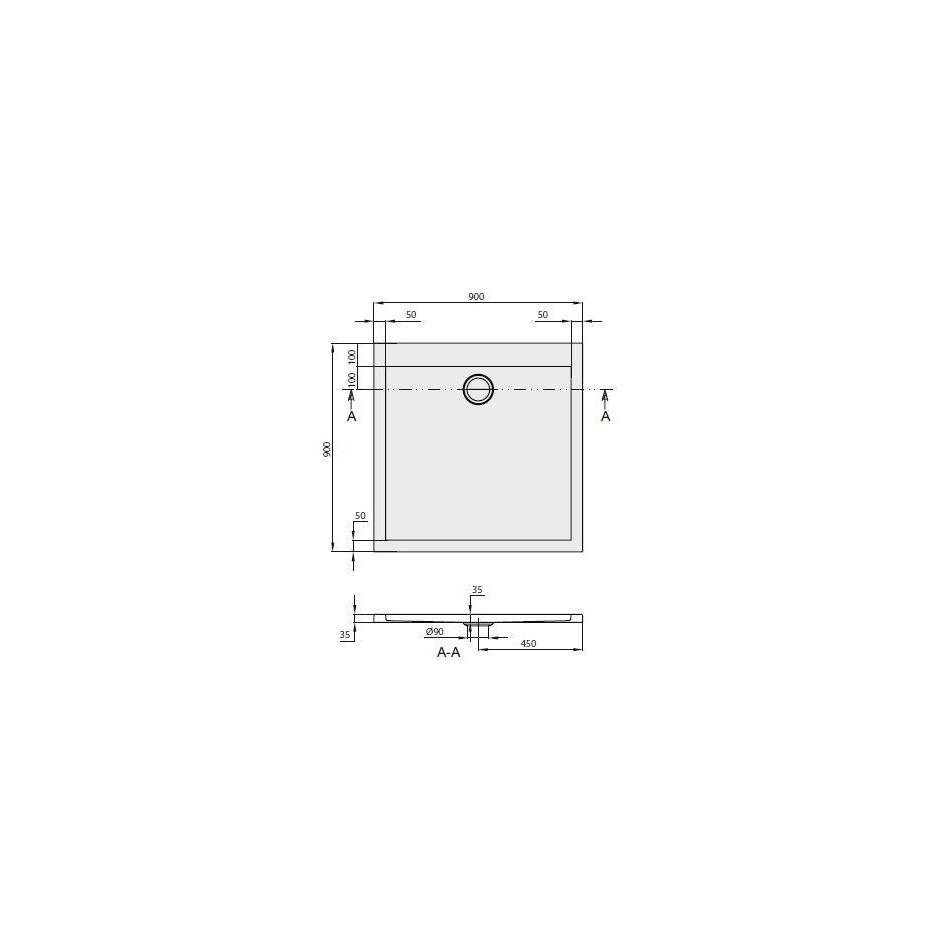 Villeroy & Boch Subway Brodzik kwadratowy akryl 900 x 900 x 35 - 354068_T1