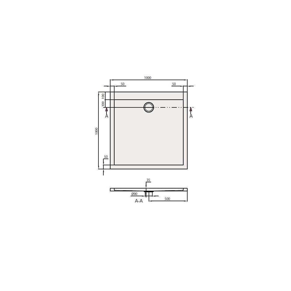 Villeroy & Boch Subway Brodzik kwadratowy akryl 1000 x 1000 x 35 - 354095_T1