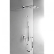 Tres Cuadro-Tres kompletny zestaw prysznicowy podtynkowy deszczownica 300x300mm chrom - 389375_O1