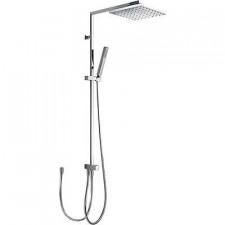 Tres Cuadro-Tres zestaw prysznicowy natynkowy na drążku deszczownica 250x250mm chrom - 455308_O1