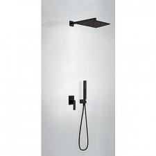 Tres Slim Exclusive kompletny zestaw prysznicowy podtynkowy deszczownica 320x220mm czarny matowy - 756966_O1