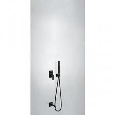 Tres Project kompletny zestaw wannowo-prysznicowy podtynkowy z zestawem punktowym wylewka czarny matowy - 756269_O1