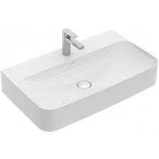 Villeroy & Boch Finion umywalka prostokątna 80x47 z otworem na baterię i przelewem, montaż ścienny CeramicPlus - 739692_O1