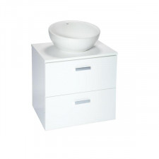 Roca Victoria Basic szafka biała 60 cm 2 szuflady z blatem białym (z otworem) - 598147_O1