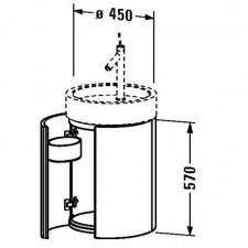 Duravit Meble Starck Szafka podumywalkowa wisząca okrągła, 2 drzwi, 2 pojemniki drewniane, czarny polysk, do umywalki 038647 -EXPO - 460712_O1