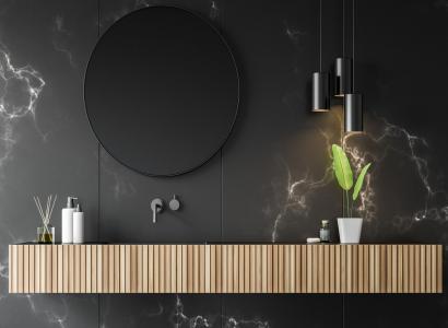 Czarno brązowa łazienka jako nowy trend.