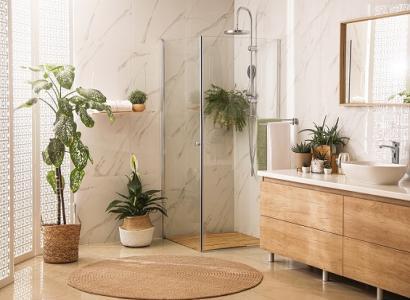 Nowy,gorący trend - roślinność w łazience.